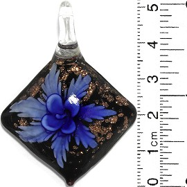 Glass Pendant Flower Square Dome Black Gold Blue PD830