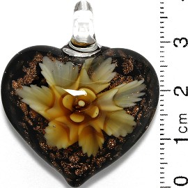 Glass Pendant Heart Flower Black Gold Tan Yellow PD834