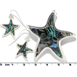 Set Earring Abalone Starfish Multi Color PD838