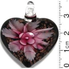 Glass Pendant Heart Flower Black Gold Pink PD845