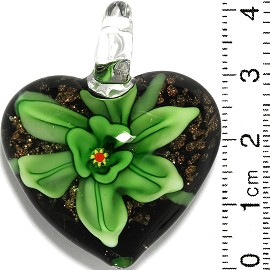 Glass Pendant Flower Heart Black Gold Green PD848