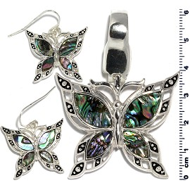 Set Earring Pendant Butterfly Abalone Silver Green PD849
