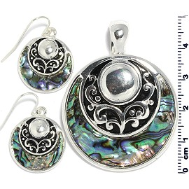 Set Earring Pendant Shield Circle Abalone Silver Green PD850
