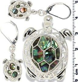 Set Earring Pendant Sea Turtle Abalone Silver Green PD851