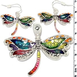 Set Earring Pendant Multi Color Dragonfly PD852