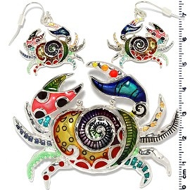 Set Earring Pendant Multi Color Crab PD853