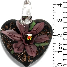 Glass Pendant Flower Heart Black Gold Purple PD859