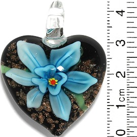 Glass Pendant Flower Heart Black Gold Turquoise PD864