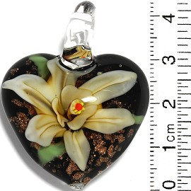 Glass Pendant Flower Heart Black Gold Yellow PD865
