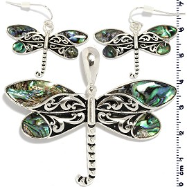 Set Earring Pendant Dragonfly Abalone Silver Green PD880