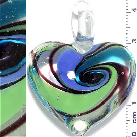 Glass Pendant Heart Clear Light Blue Green PD895