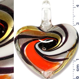 Glass Pendant Heart Clear Orange White PD896