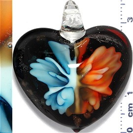 Glass Pendant Flower Heart Gold Black Orange Turquoise PD900