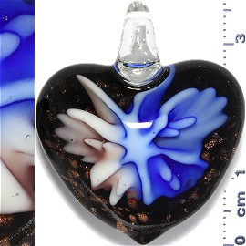 Glass Pendant Flower Heart Gold Black Blue Lavender PD904
