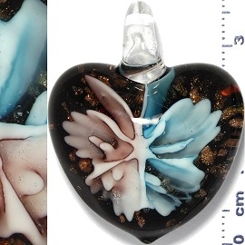 Glass Pendant Flower Heart Gold Black Lavender Sky Blue PD905