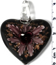 Glass Pendant Heart Flower Black Gold Dark Purple PD908