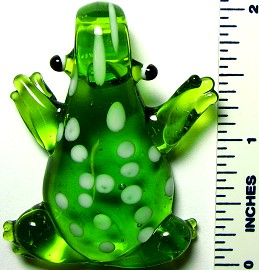 Green White Dots Frog Glass Pendant PD910