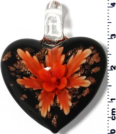 Glass Pendant Heart Flower Black Gold Dark Orange PD913