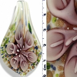 Glass Pendant Leaf Spoon Flower White Gree Lavender Purple PD918