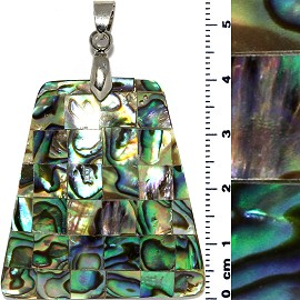 Abalone Trapezoid Squares Pendant Silver Tone Green Tan PD925