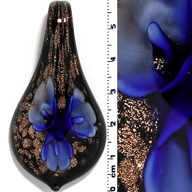 Glass Pendant Leaf Spoon Flower Black Gold Blue PD930