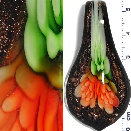 Glass Pendant Flower Spoon Black Gold Green Orange PD940
