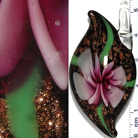 Glass Pendant Flower Oval Point Black Gold Pink PD971