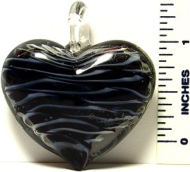 Heart Black Clear Stripes Glass Murano Pendant