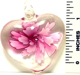 Heart Pink Flower Clear Glass Murano Pendant PDH201