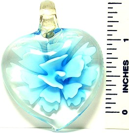 Heart Sky Blue Flower Clear Glass Pendant PDH203