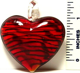Heart Red Black Lines Glass Murano Pendant PDH205