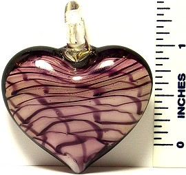Heart Light Purple White Black Lines Glass Murano Pendant
