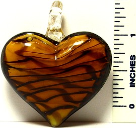 Heart Brown on White Black Lines Glass Murano Pendant
