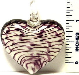 Heart White Purple Black Lines Glass Murano Pendant