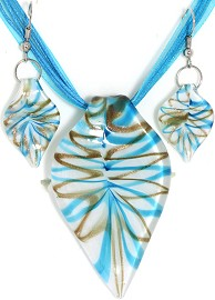 Glass Pendant Box Set Leaf White Aqua PDT18