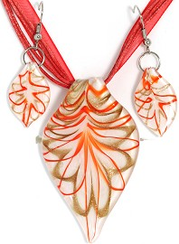 Glass Pendant Box Set Leaf White Orange Red PDT19