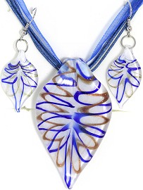 Glass Pendant Box Set Leaf White Blue PDT20