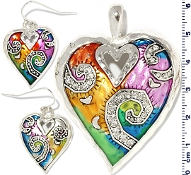 Pendant Earring Set Multi color Heart PDT213