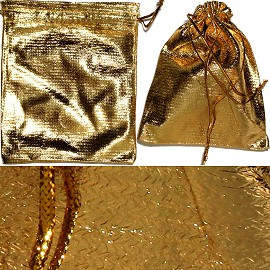 "12pc 2.75x2"" Inch Jewelry Pouch Gold PH38"