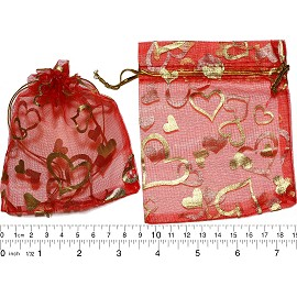 "100pcs 3.5x2.75"" Inches See Through Pouch Red Gold PH40"