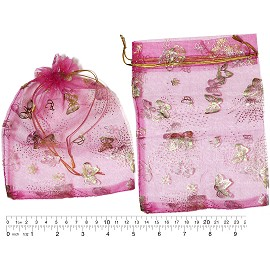 "100pcs 6.75x5"" Inches See Through Pouch Magenta Gold PH49"