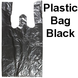 "One Bundle Black Plastic Bag 18x10x5 "" Medium Size PH61"