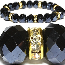 10mm Crystal Bracelet Rhinestone Stretch Gold Obsidian SBR1058
