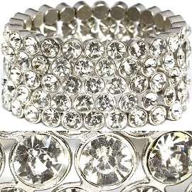 Wide Rhinestone Stretch Bracelet Clear Silver SBR1092