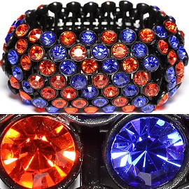 Rhinestone 36mm Wide Stretch Bracelet Orange Blue SBR1164