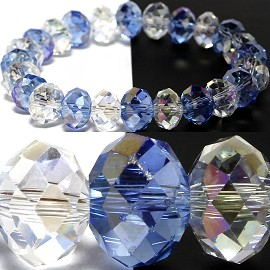 10mm Crystal Bracelet Stretch Blue Clear Aura SBR1194
