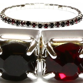 "6"" to 9"" Thin Stretch Rhinestone Bracelet Black Dark Red SBR1272"