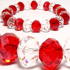 10mm Crystal Bracelet Stretch Clear Red SBR169