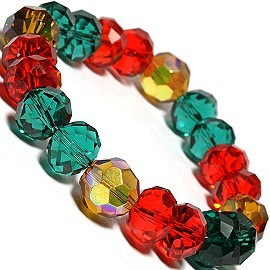 1pc Stretch 12mm Crystal Beads Bracelet Christmas Colors SBR201