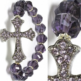 Stretch Fancy Cross Bracelet Rhinestone Beads Purple SBR202